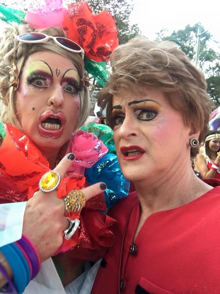 Pauline Pantsdown with Vanesssa Wagner Mardi Gras 2018